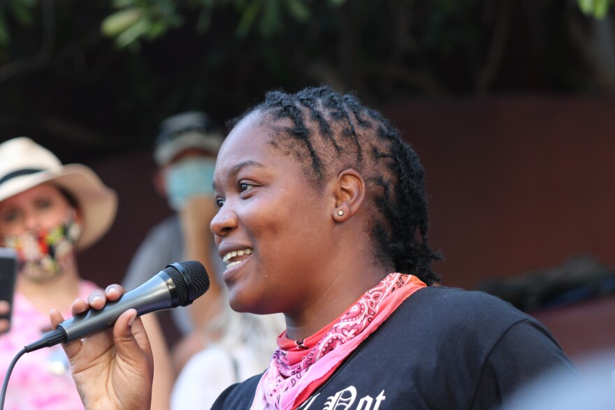"""Jourdyn """"Jeaux"""" Parks is a San Antonio activist. At Monday's march, she told fellow protesters about experience as a mother and the importance of teaching one's kids their own history."""