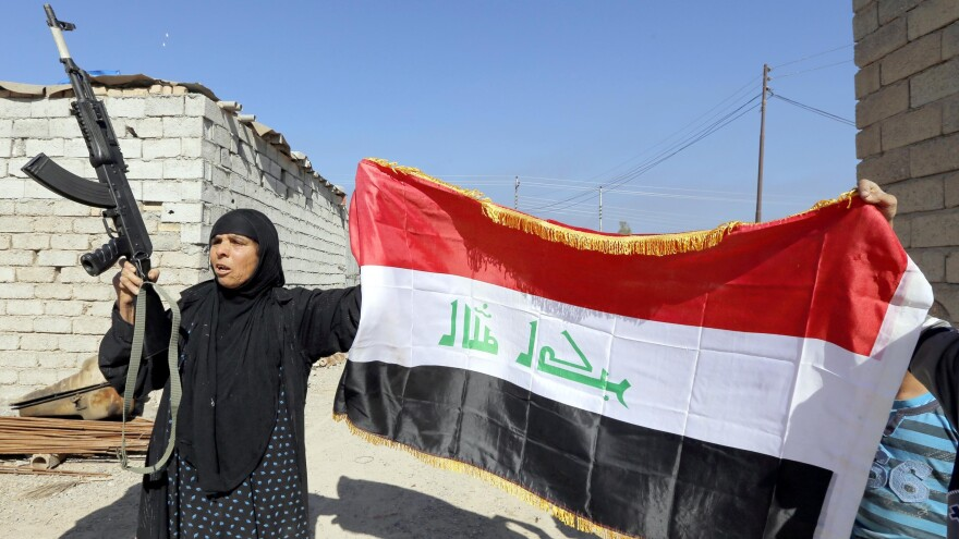 Iraq's push into Tikrit follows its retaking of the nearby town of al-Alam on Tuesday. There, a woman welcomed a relative who is fighting with a militia that's backing Iraqi troops.
