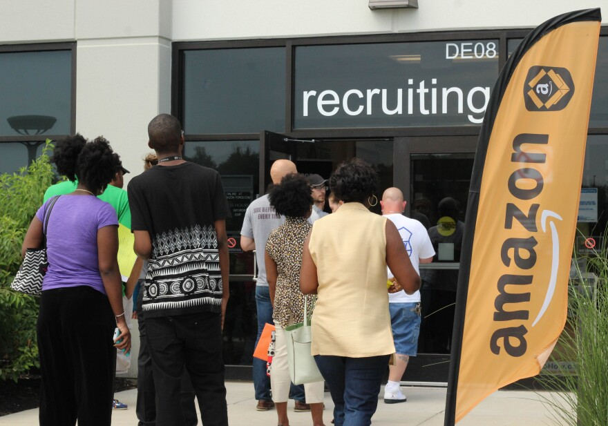 Job seekers at one of two fulfillment centers in Central Ohio.