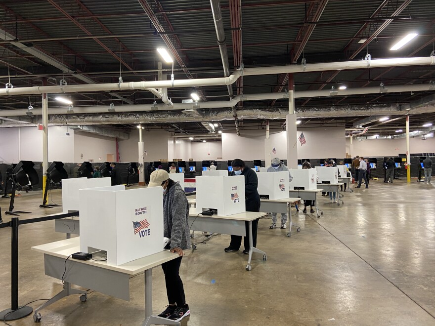 Voters at polling location