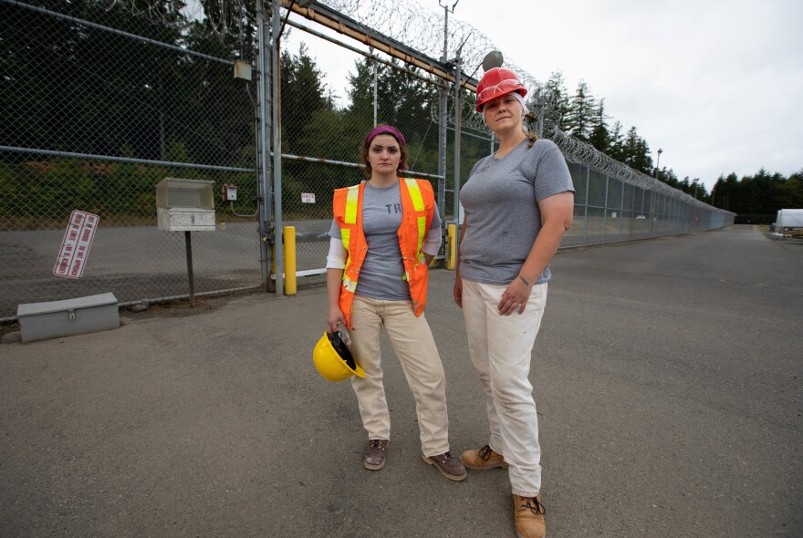 Desiree Jensen<strong> </strong>and Chantal Trotter<strong> </strong>posing for a portrait.  The two inmates are part of the TRAC program, one of the classes provided by the Washington Corrections Center for Women to provide prisoners with a skill set to ease their job search when released.