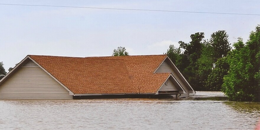 Twan Robinson's house during the flooding