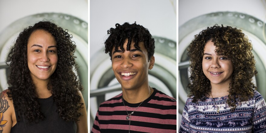 Arielys Vazquez (from left), Andrés Pacheco Báez and Lisney Santiago show off their haircuts at OM Salon.