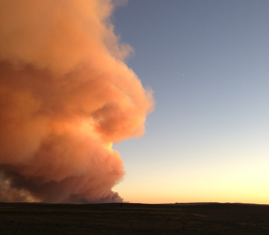 Smoke rises from the Black Forest Fire near Colorado Springs.