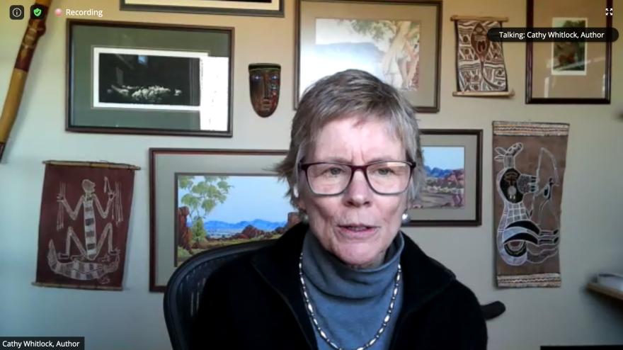 Screen grab of MSU Earth Sciences Professor Cathy Whitlock over Zoom
