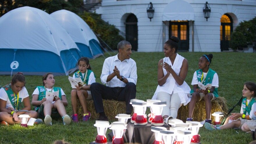 President Obama and Michelle Obama went a little <em>Troop Beverly Hills</em> at a Girl Scout campout on the South Lawn earlier this summer. We doubt survivalist Bear Grylls is going allow the president to bring those lanterns on their trek.