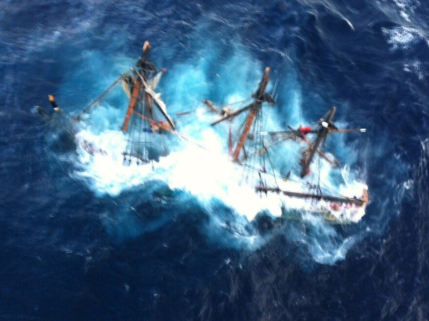 The HMS Bounty as the tall ship sank Monday off the coast of North Carolina.