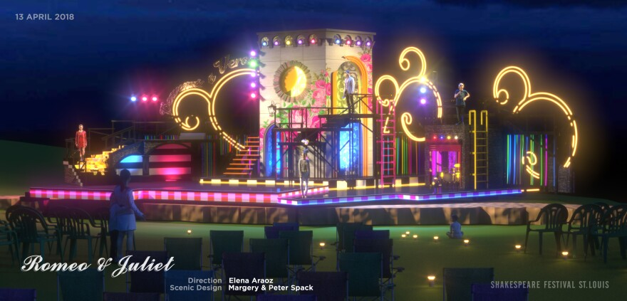 """A 3D rendering of the """"Romeo and Juliet"""" stage."""