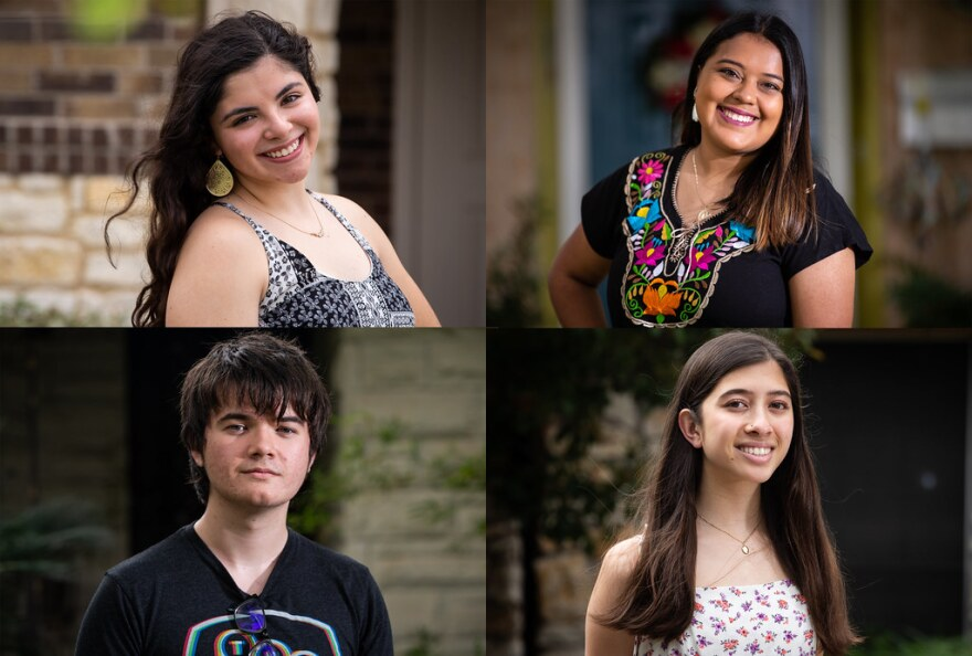 Frances Parra (clockwise from top left), Chantal Flores-Malagon, Maddy Pollack and Hudson Humphrey are all graduating high school this year.