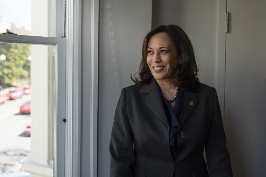 """Sen. Kamala Harris, a former prosecutor, says she was """"born realizing the flaws in the criminal justice system."""" The California Democrat is not only seeking to become the first woman to be president, but the first black woman."""