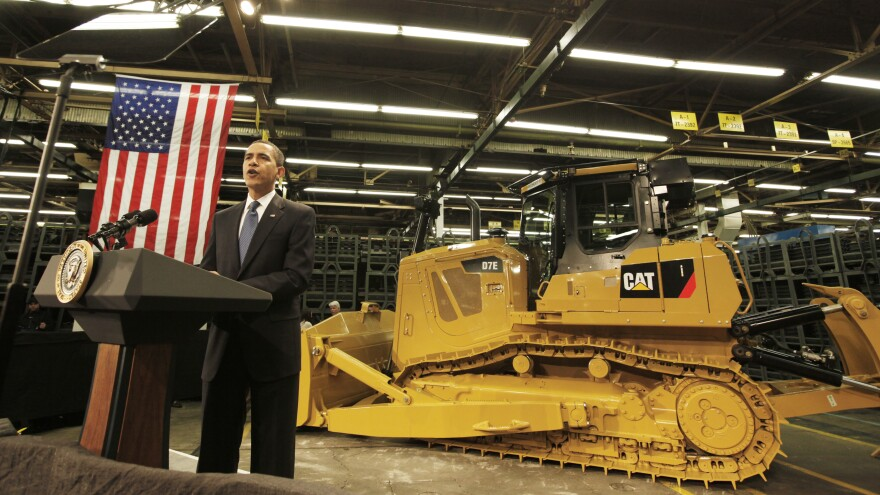 President Obama speaks to Caterpillar employees in East Peoria, Ill., in February 2009 about the then-struggling economy.