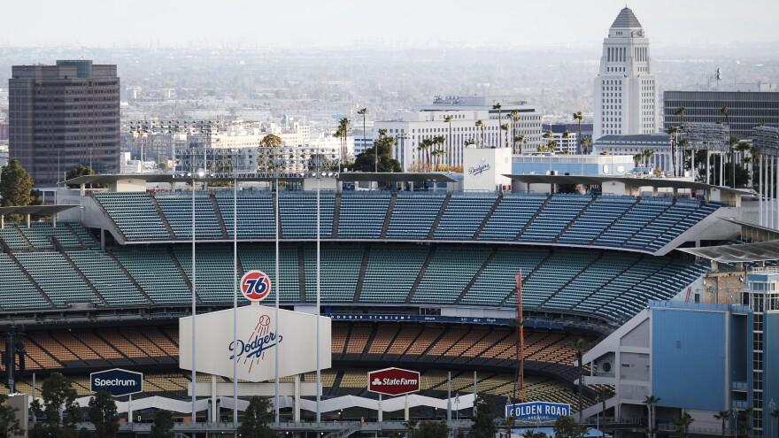 Dodger Stadium on what was supposed to be Major League Baseball's opening day on March 26 in Los Angeles.