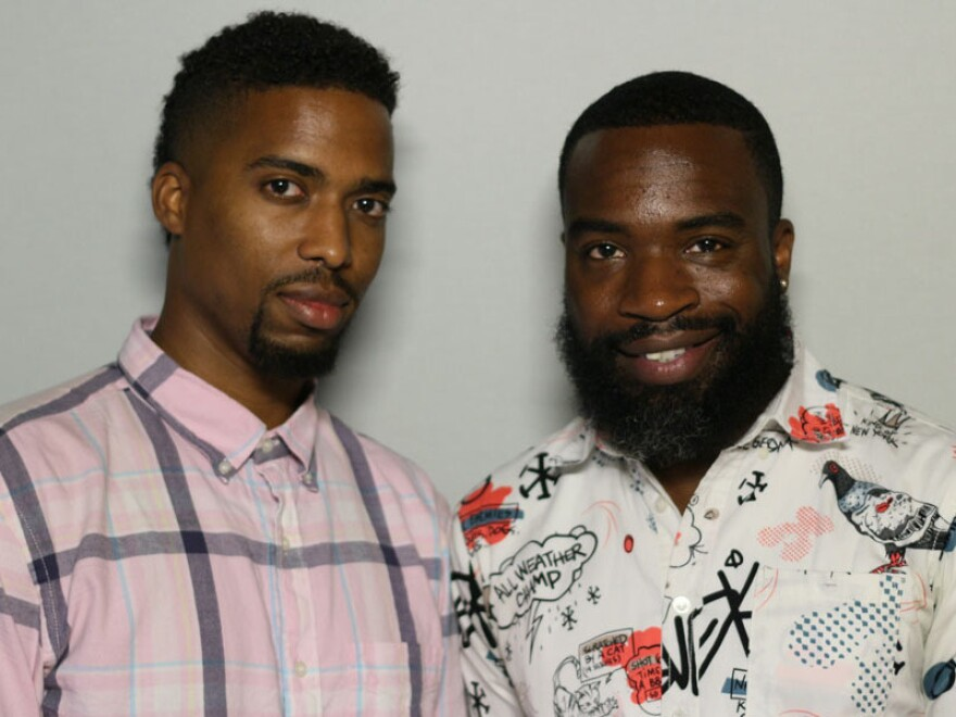 Darnell Moore (right) tells his friend Bryan Epps about growing up in Camden, N.J., where a group of boys once attacked him and attempted to light him on fire. Moore now mentors LGBTQ teens.