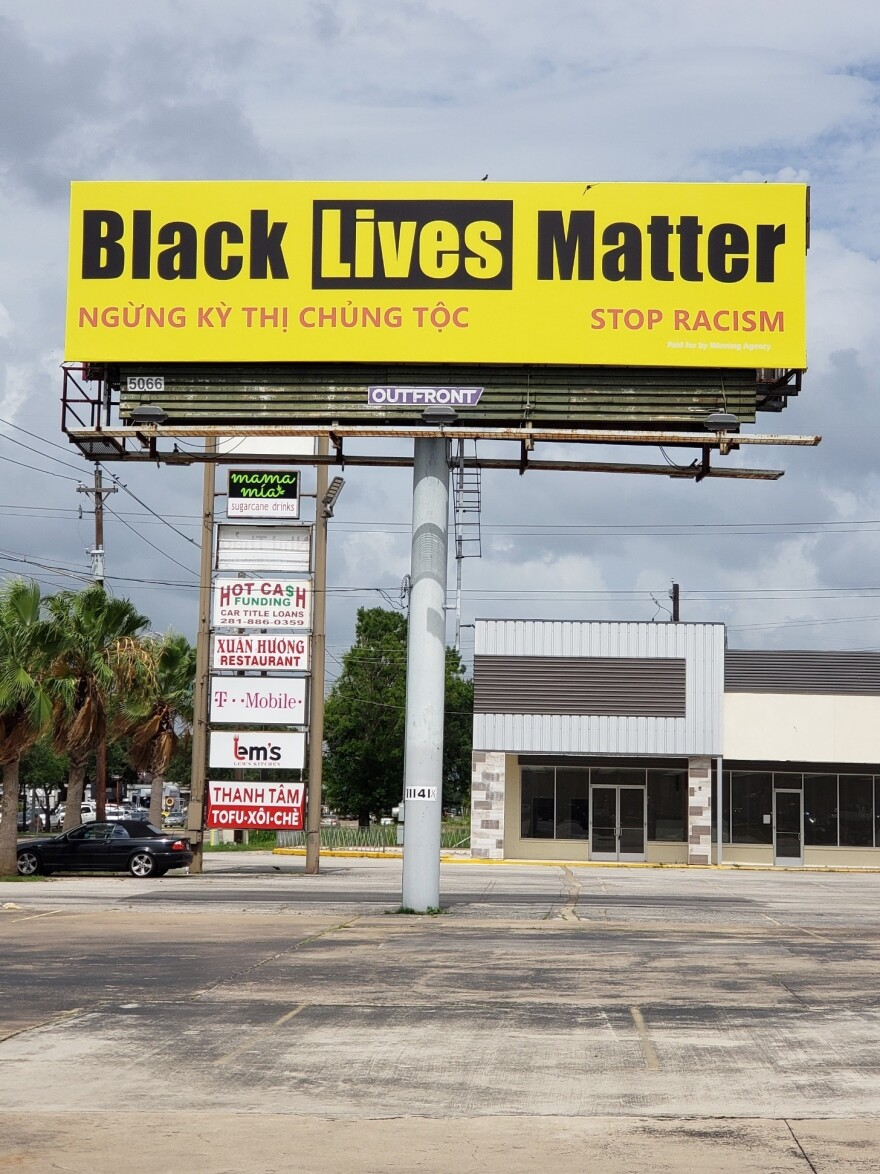 Le Hoang Nguyen received threats after putting up this billboard in Houston after George Floyd was killed.