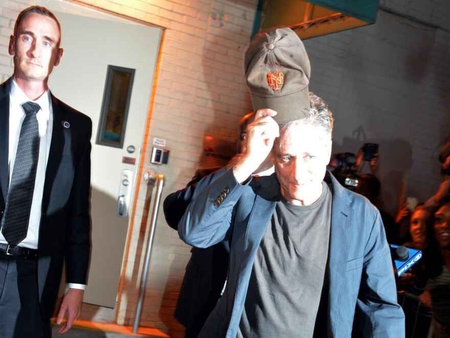 Jon Stewart leaves the studio Thursday after taping his final episode of <em>The Daily Show with Jon Stewart</em> in New York.