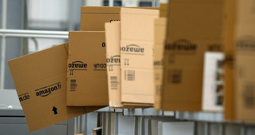 Empty boxes are stacked in the packaging department at an Amazon Fulfillment Center in England on Nov. 28, 2013. (Andrew Yates/AFP/Getty Images)