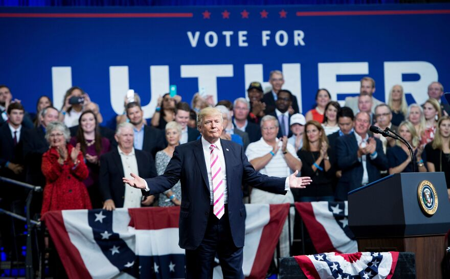President Trump holds a rally for Alabama Republican Senate candidate Luther Strange on Sept. 22 in Huntsville, Ala. After Strange lost the primary race, Trump's tweets promoting him were deleted.