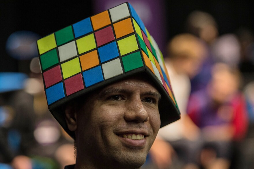 A competitor at the Rubik's Cube World Championship in Sao Paulo, Brazil on July 17, 2015.