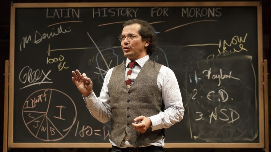 Leguizamo wears tweed, issues demerits and wields chalk like a magic wand in <em>Latin History for Morons</em>.