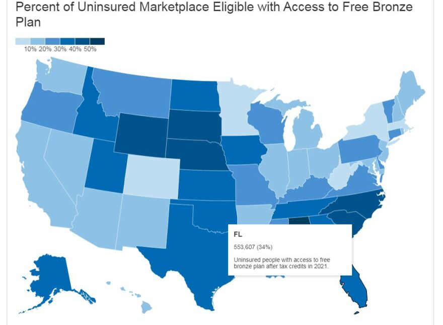 Graphic that shows 550,000 Floridians eligible for free insurance through ACA (Kaiser Family Foundation)