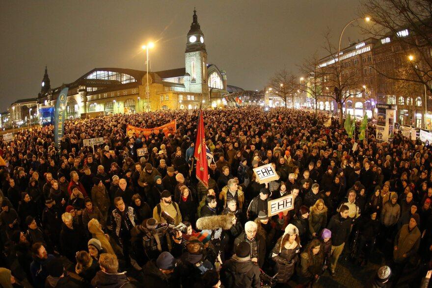 People protest against PEGIDA in Hamburg, Germany, on Monday.