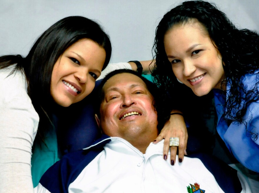 """A """"proof of life"""" photo shows Chavez with his daughters, released Feb. 15 by Miraflores Presidential Press Office."""