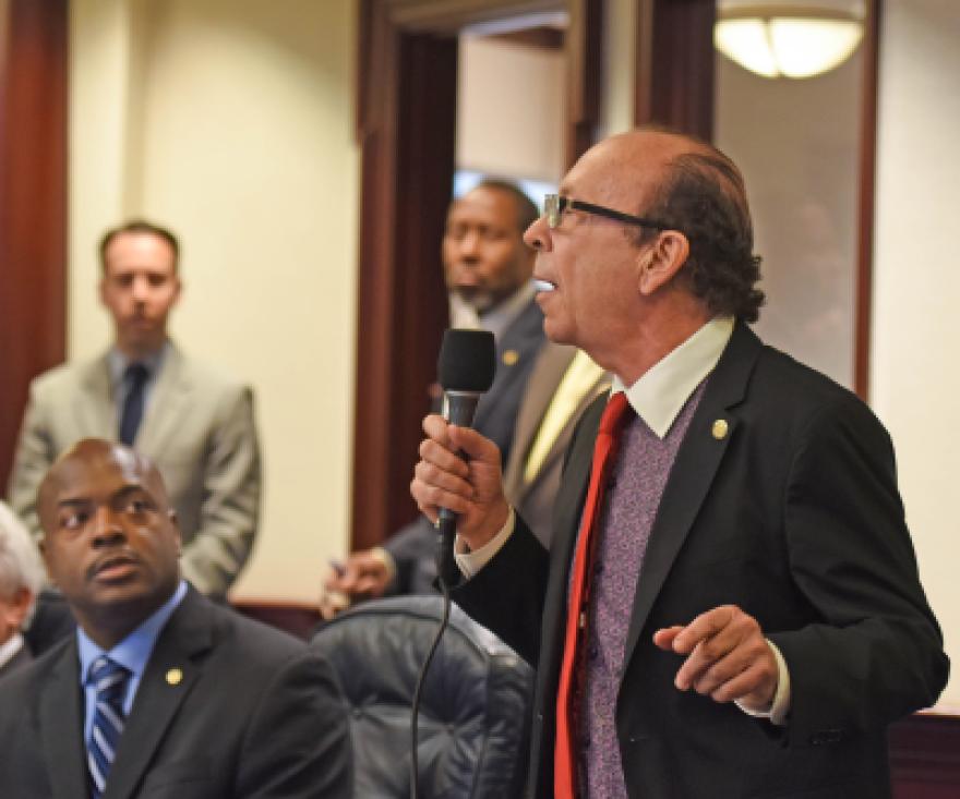 "Rep. Irving ""Irv"" Slosberg, D-Boca Raton, debates on the House floor April 2, 2015."
