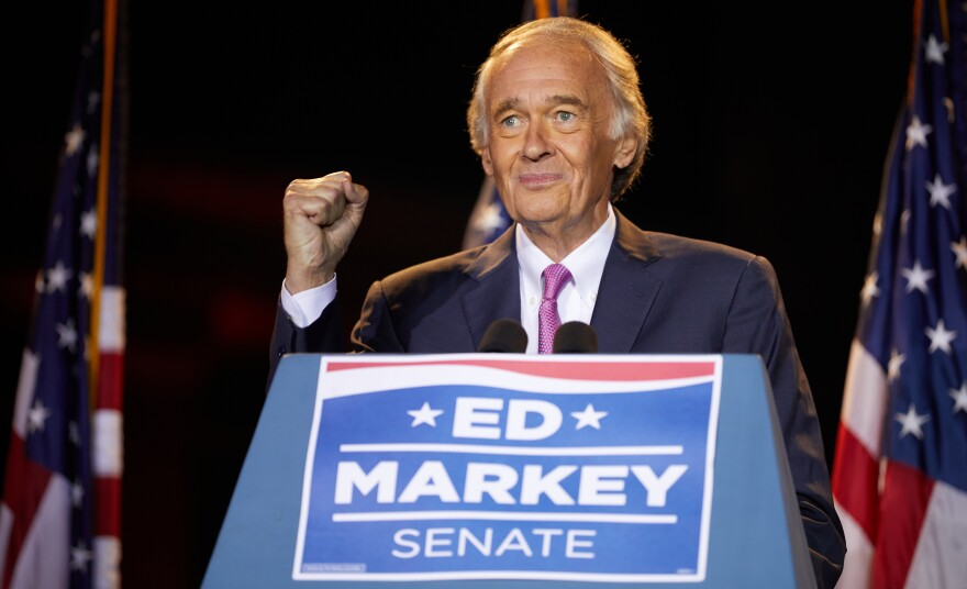 Sen. Ed Markey speaks Tuesday in Malden, Mass., after beating Rep. Joe Kennedy III for the Democratic nomination for a Massachusetts U.S. Senate seat.