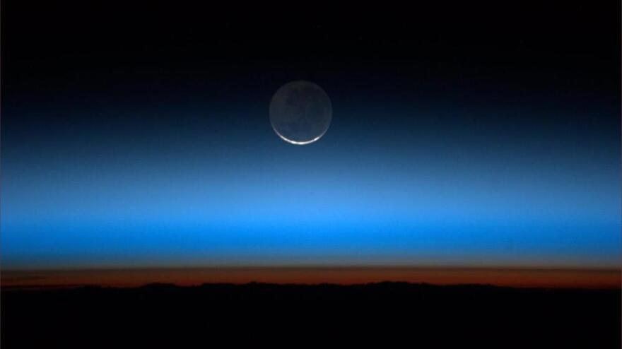 The moon, seen from the International Space Station, on July 31.