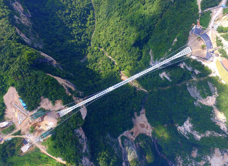 An aerial view of glass-bottom bridge at Zhangjiajie Grand Canyon on Saturday in China's Hunan province.