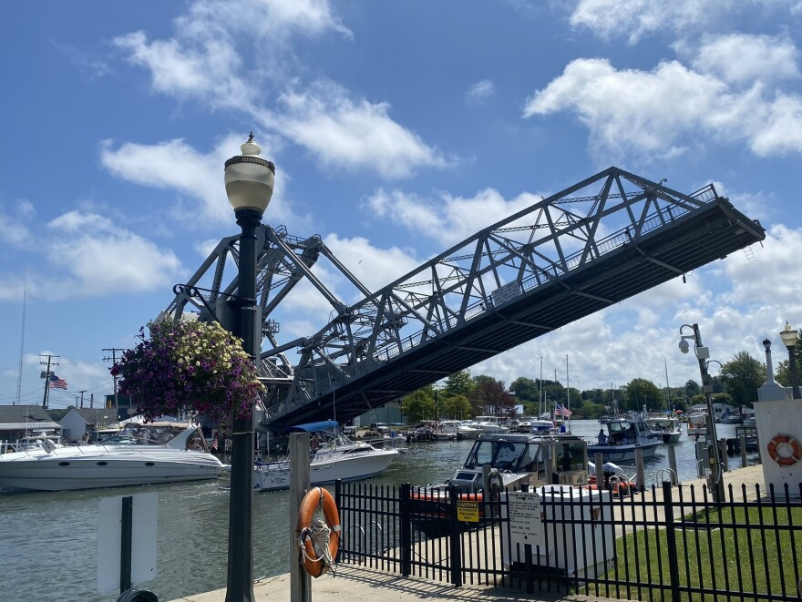 A lift bridge in the harbor commercial district in Ashtabula, Ohio.