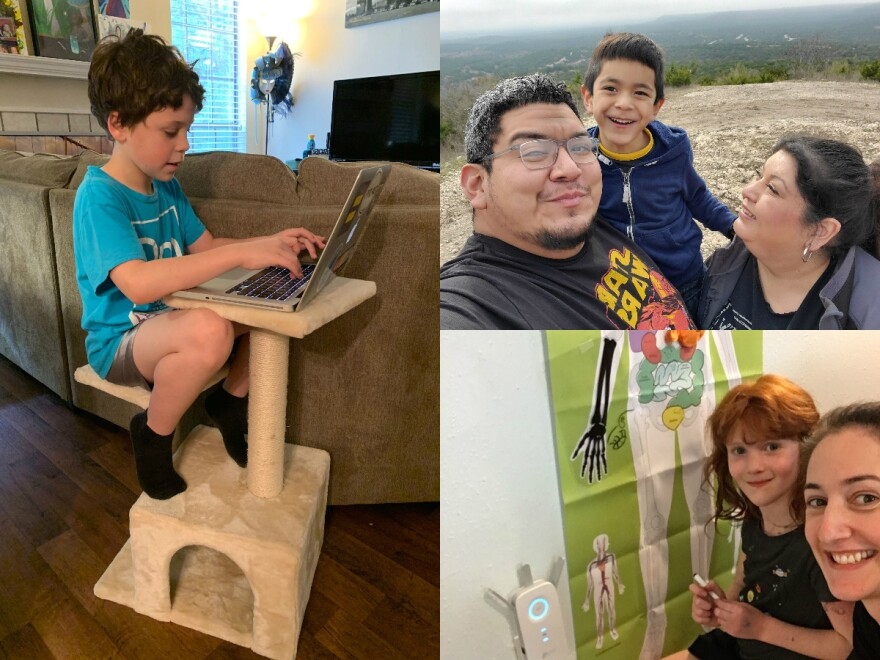 Clockwise from left: Rowan Bingaman takes a break from his kid-sized desk to sit in a cat tower; Alex, Gaby and Liam Garcia; Scout Stern helps her daughter Cora with an anatomy activity.