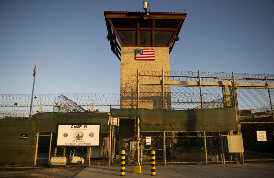 """This image reviewed by the U.S. military shows the front gate of """"Camp Six"""" detention facility of the Joint Detention Group at the US Naval Station in Guantanamo Bay, Cuba."""