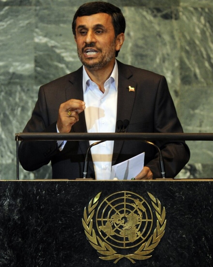 Iranian President Mahmoud Ahmadinejad at the U.N. today.