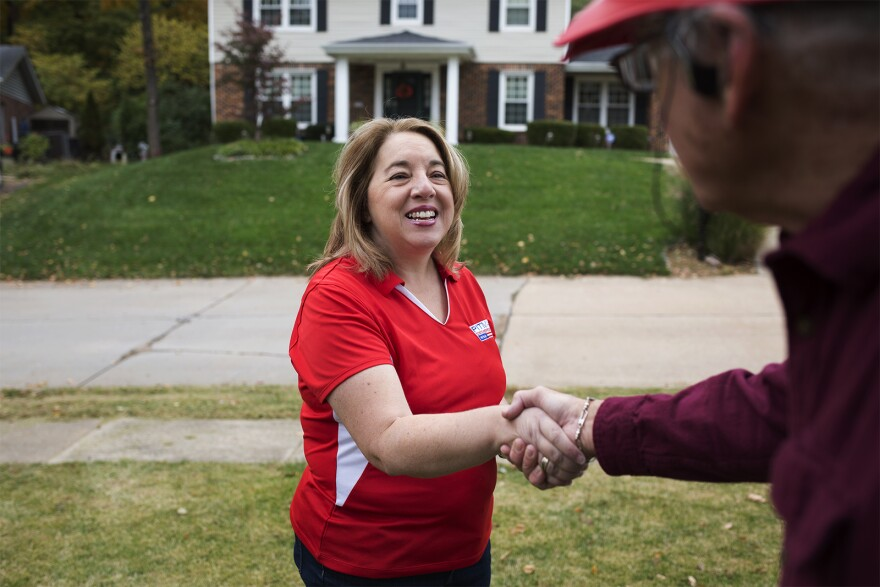 Lee Ann Pitman greets a voter while canvassing in the 99th district. Oct. 25, 2019