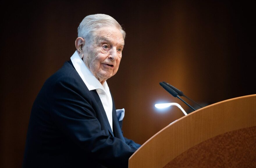 Hungarian-born US investor and philanthropist George Soros talks to the audience after receiving the Schumpeter Award 2019 in Vienna.