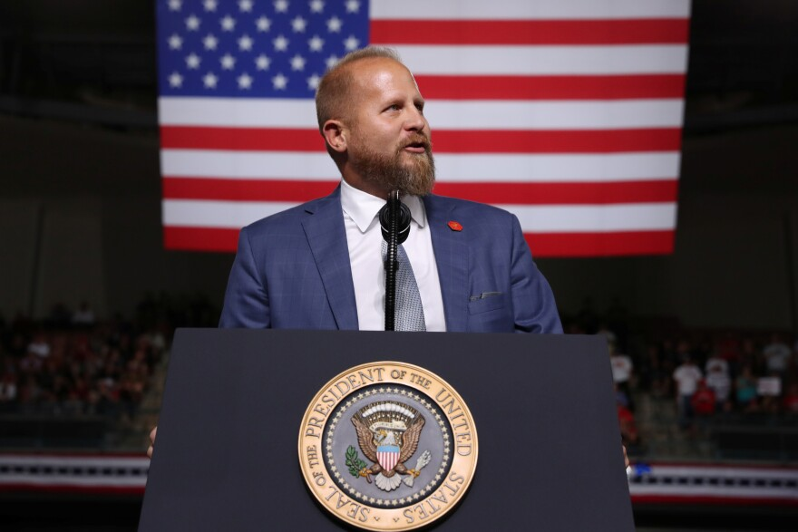 Former Trump 2020 campaign manager Parscale addresses the crowd before U.S. President Trump rallies with supporters in Manchester, New Hampshire