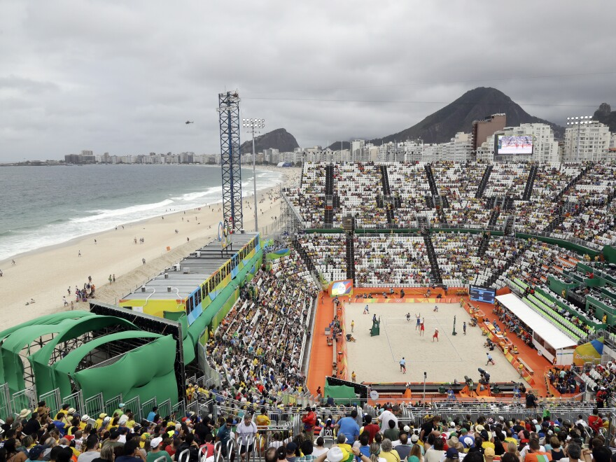 Rio's Olympic beach volleyball venue is on Copacabana beach.