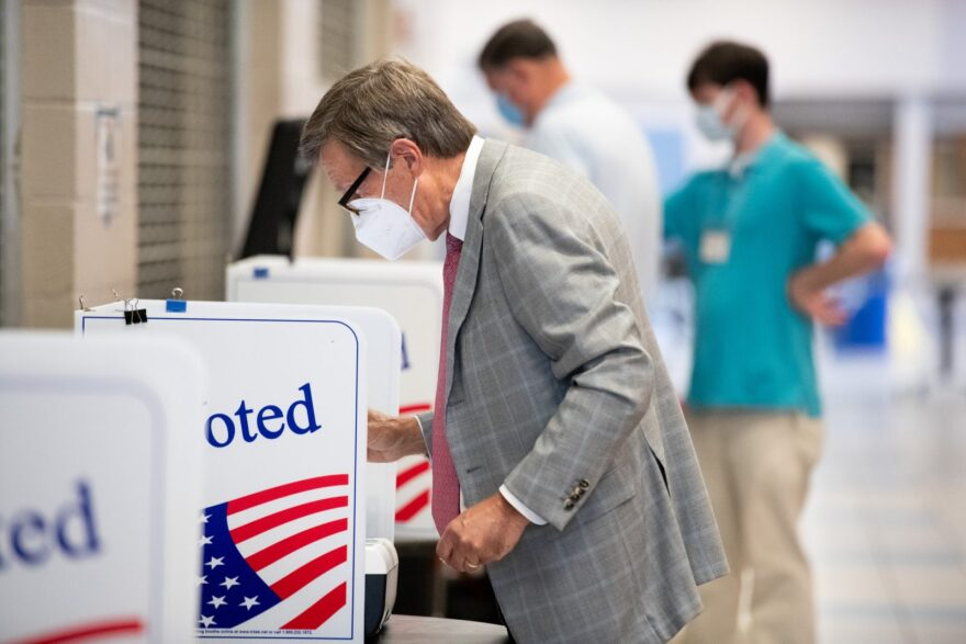 Voters cast ballots at a polling station at Dreher High School in Columbia, South Carolina.