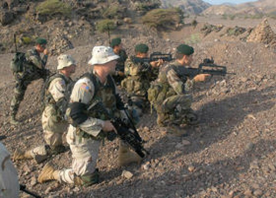 U.S. and French troops on patrol together in Djibouti.