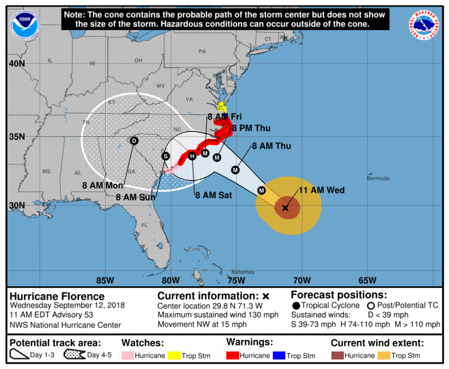 The latest forecast from the National Hurricane Center for Hurricane Florence.