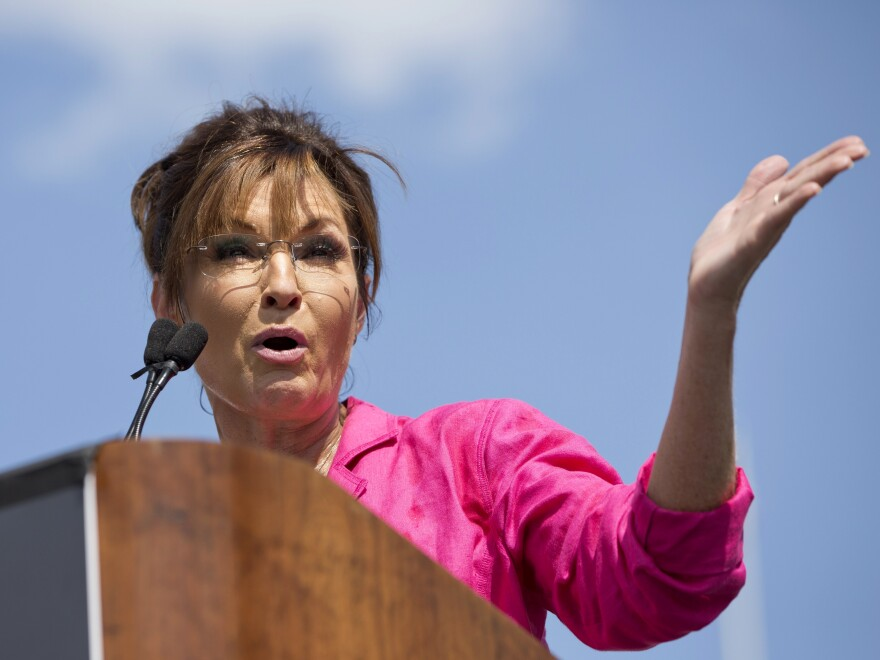 Former vice presidential Republican candidate Sarah Palin speaks during a Tea Party rally against the Iran deal on the West Lawn of the Capitol in Washington.