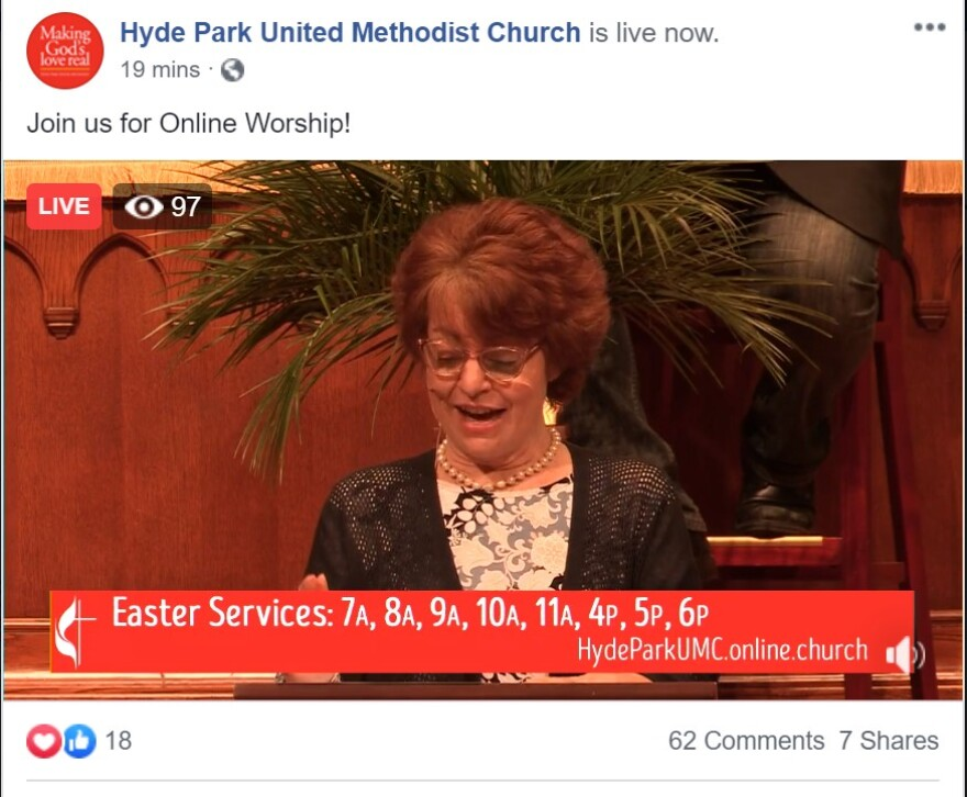 a red haired woman talks about Easter services online