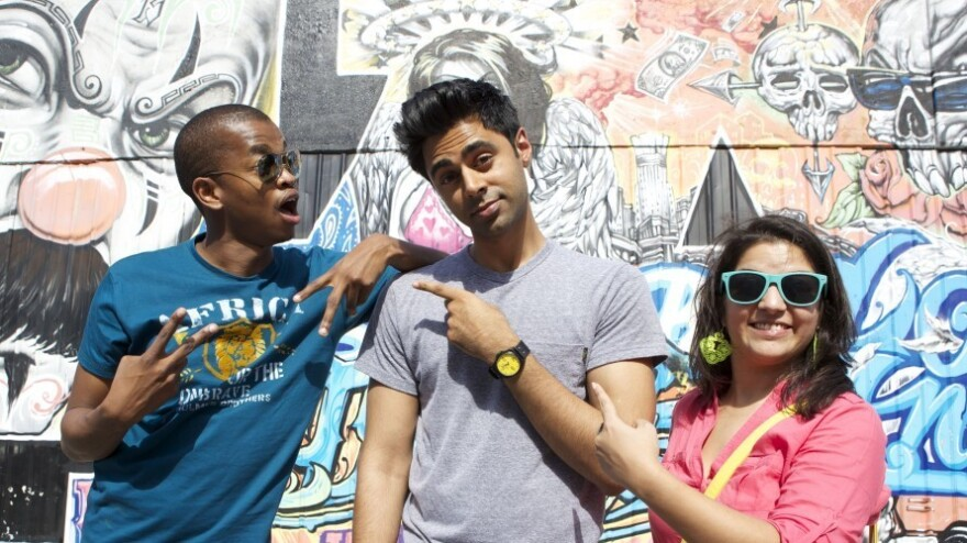 As part of the documentary <em>Stand Up Planet, </em>South African comedian Mpho Popps (left) and Indian comedian Aditi Mittal (right) came to Los Angeles to perform with Hasan Minhaj at the Laugh Factory.