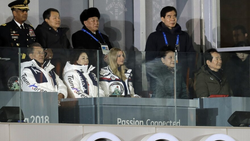 From front row left, South Korean President Moon Jae-in; his wife, Kim Jung-sook and Ivanka Trump watch the closing ceremony of the 2018 Winter Olympics. Kim Yong Chol, vice chairman of North Korea's ruling Workers' Party Central Committee, stands third from left in the back row. Earlier in the day, the South said the North was open to U.S. talks.