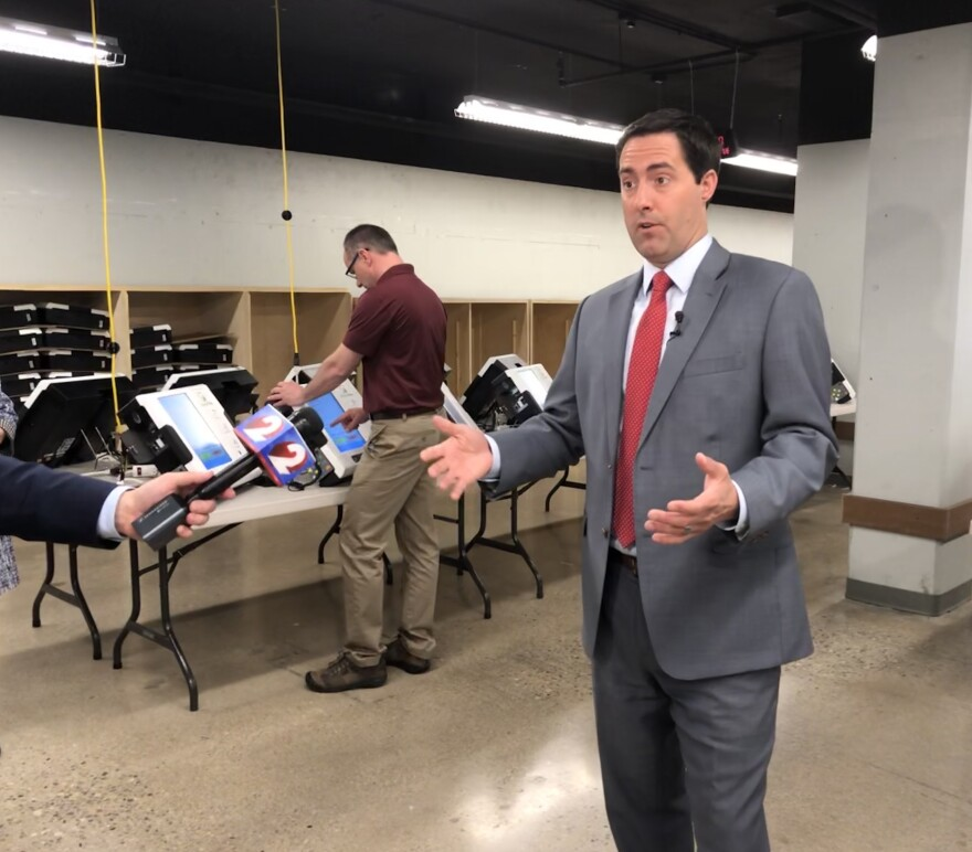 Ohio Secretary of State, Frank LaRose at the Montgomery County Board of Elections, where new voting machines are being tested.