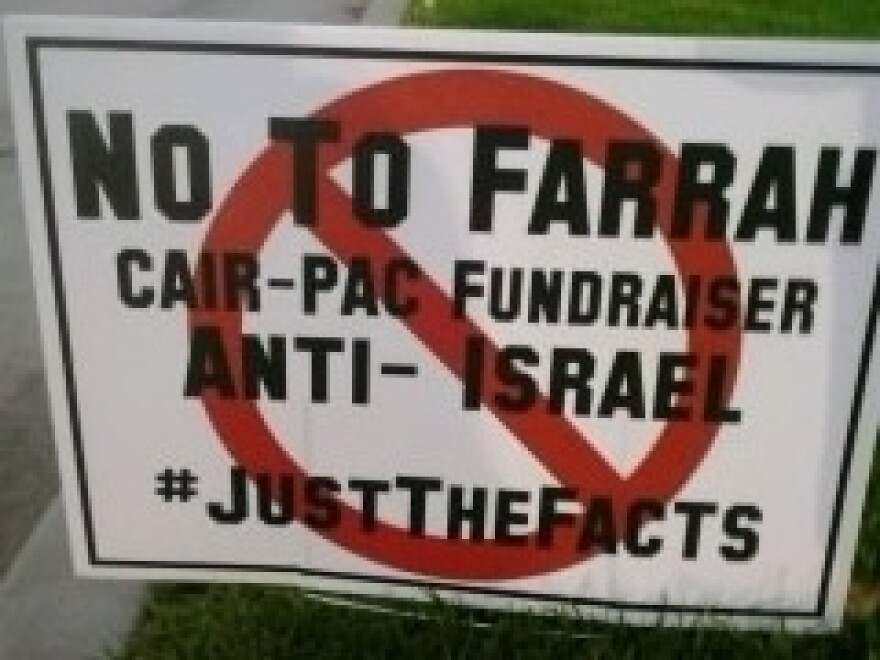 "Farrah Khan said that during her city council campaign in Irvine, Calif., an opponent made a sign falsely accusing her of being ""anti-Israel."""