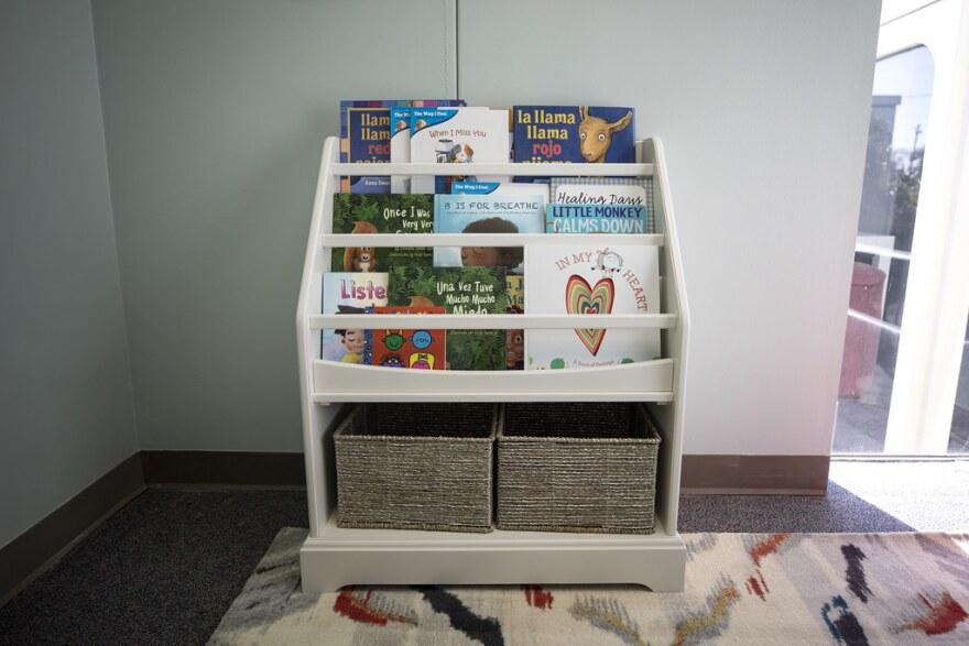 A bookshelf with children's books