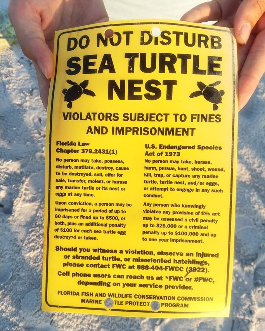 A Sea Turtle Nesting Warning Sign