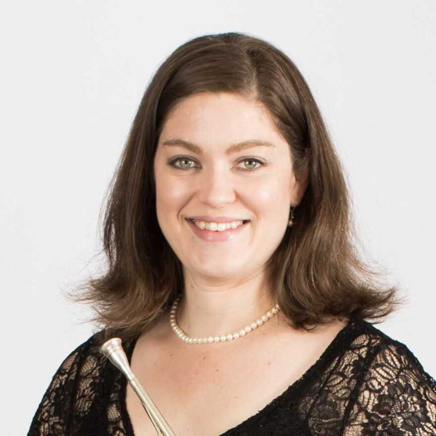 A photo of Kansas City Symphony second horn Elizabeth Gray. She joined co-hosts Dan Margolies and Michael Stern to talk about her performances in works by Beethovan, Grieg and Hanson.